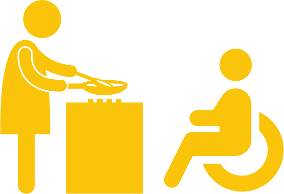 Person helping person in wheelchair cook symbol
