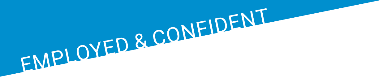 "Blue ""Employed & Confident"" banner"