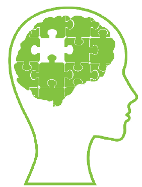 Symbol of person with puzzle pieces making up brain