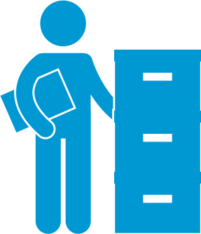 Person in front of file cabinet symbol